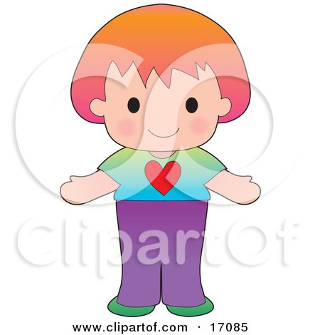 Sweet And Friendly Caucasian Girl Wearing A Tshirt With A Heart On It Clipart Illustration by Maria Bell