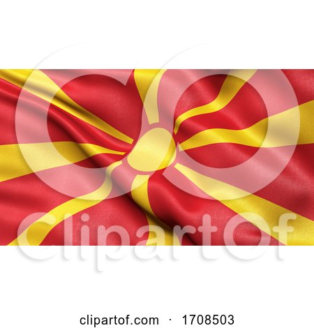 3D Illustration of the Flag of North Macedonia Waving in the Wind by stockillustrations