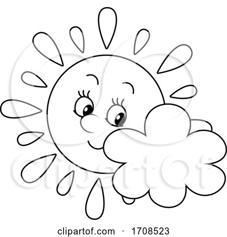 Black and White Spring or Summer Sun Mascot with a Cloud by Alex Bannykh