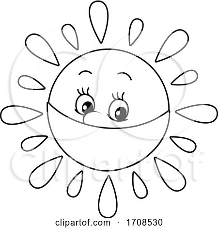 Black and White Spring or Summer Sun Mascot Wearing a Mask by Alex Bannykh