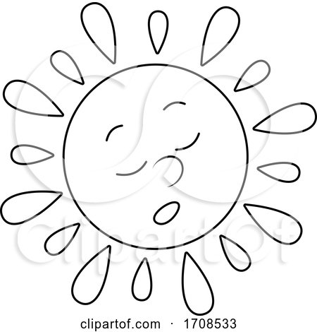 Black and White Spring or Summer Sun Mascot by Alex Bannykh