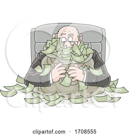Cartoon Fat Politician Greedily Holding His Money by Alex Bannykh