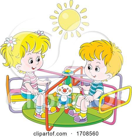 Children Playing on a Playground Merry Go Round by Alex Bannykh