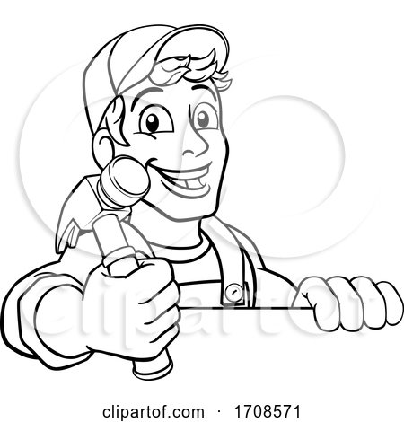 Handyman Hammer Cartoon Man DIY Carpenter Builder Posters, Art Prints