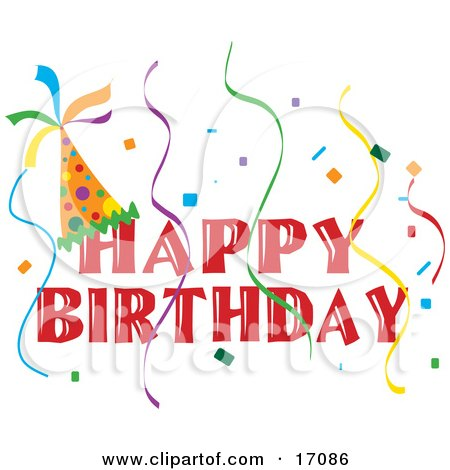 Royalty-free holiday clipart picture of a Happy Birthday banner with a party