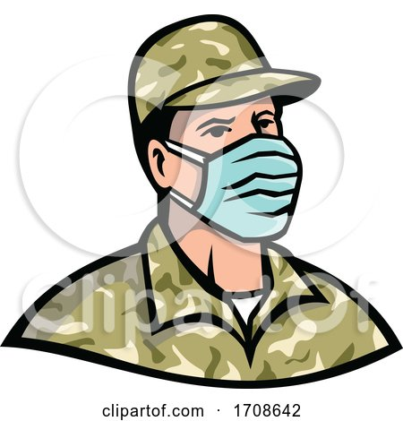 Soldier Wearing Mask Mascot by patrimonio