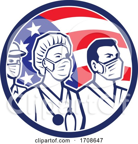 American Healthcare Worker Heroes USA Flag Icon by patrimonio