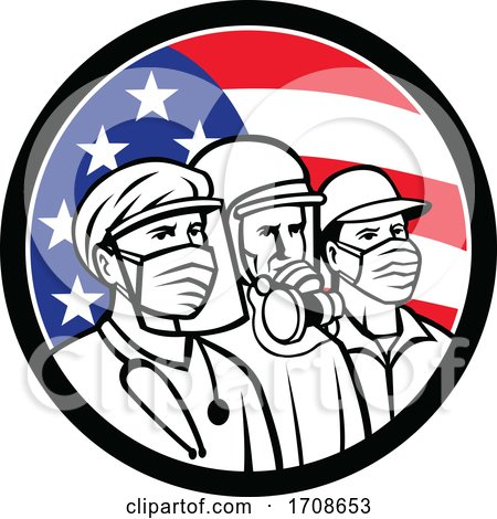 Essential Workers over an American Flag by patrimonio