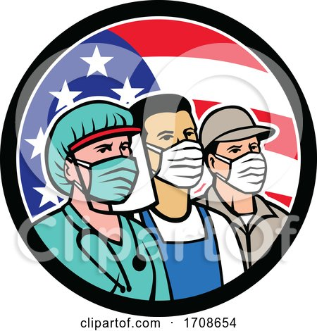 Doctor Grocer and Delivery Drivers Wearing Covid Masks over an American Flag by patrimonio