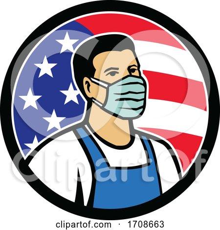 American Food Worker As Hero USA Flag Circle Icon by patrimonio