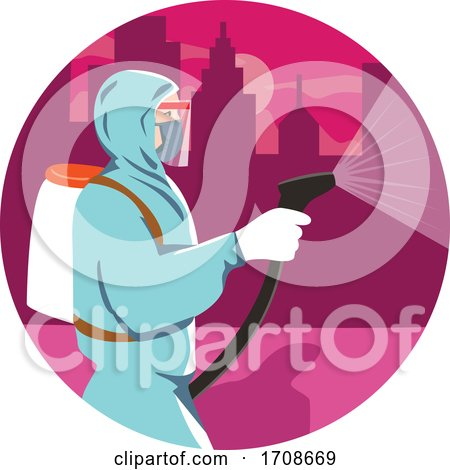 Industrial Worker Spraying Disinfectant in a City by patrimonio