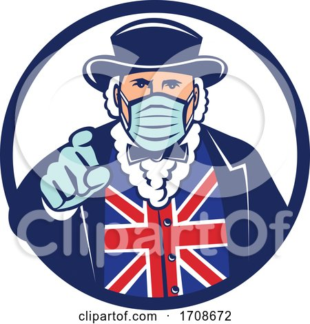 John Bull Pointing and Wearing a Surgical Mask by patrimonio