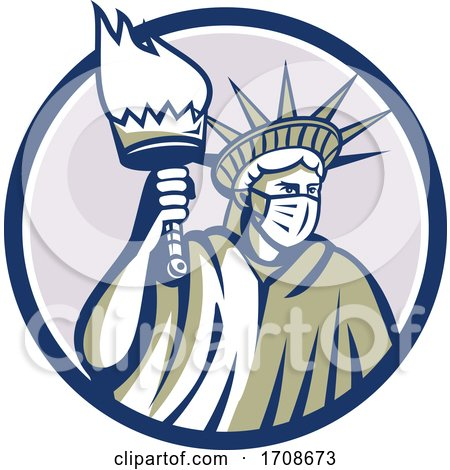 Statue of Liberty Holding a Torch and Wearing a Covid Face Mask by patrimonio