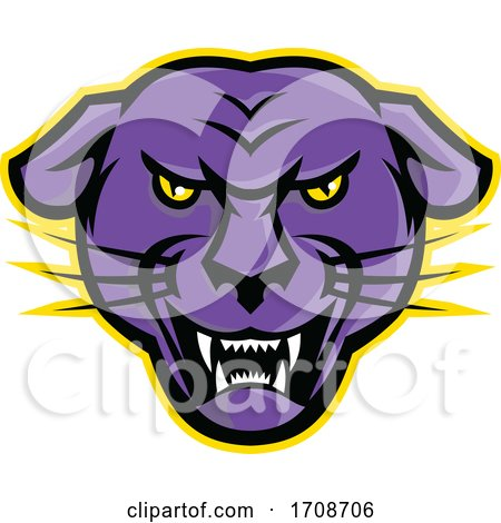 Angry Black Panther Head Mascot by patrimonio