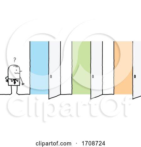 Stick Business Man Facing Three Open Doors Posters, Art Prints