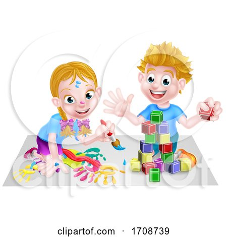 Children Playing with Building Blocks and Paint by AtStockIllustration