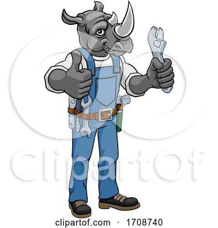 Rhino Plumber or Mechanic Holding Spanner Posters, Art Prints