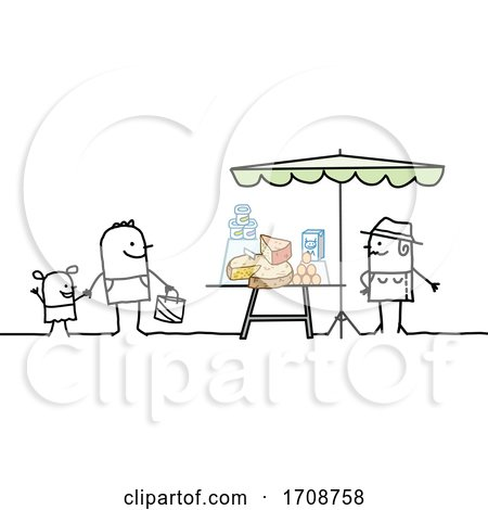 Stick Man Buying Dairy from a Farmer Posters, Art Prints