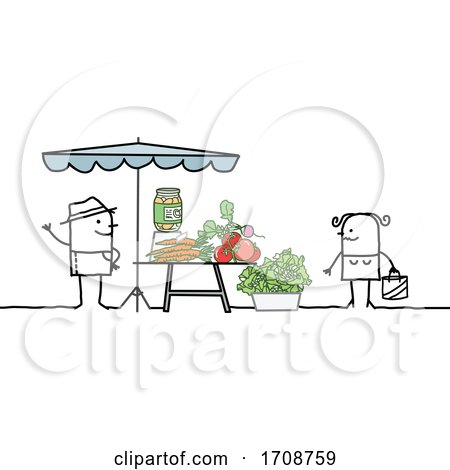 Stick Woman Buying Produce from a Farmer Posters, Art Prints