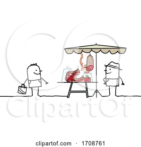 Stick Man Buying Meat from a Farmer by NL shop