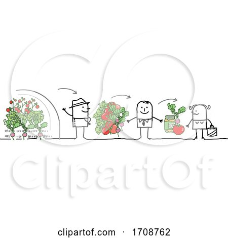Stick Woman Buying Produce from a Grocer from a Farmer Posters, Art Prints
