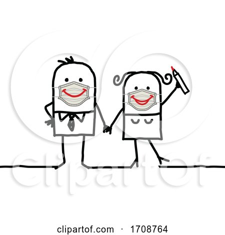 Stick Man Couple Wearing Smiley Face Masks Posters, Art Prints
