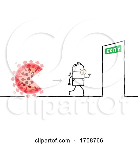 Stick Man Wearing a Mask Being Chased by the Coronavirus and Running to an Exit Posters, Art Prints