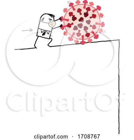 Stick Man Wearing a Mask and Pushing a Coronavirus Uphill Posters, Art Prints