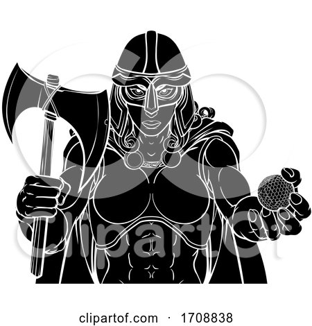 Viking Trojan Celtic Knight Golf Warrior Woman by AtStockIllustration