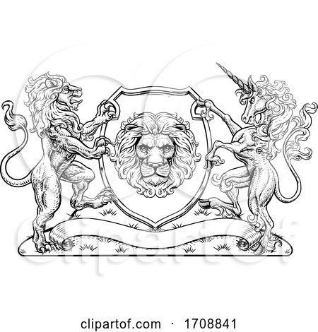 Coat of Arms Unicorn Lion Crest Shield Family Seal by AtStockIllustration