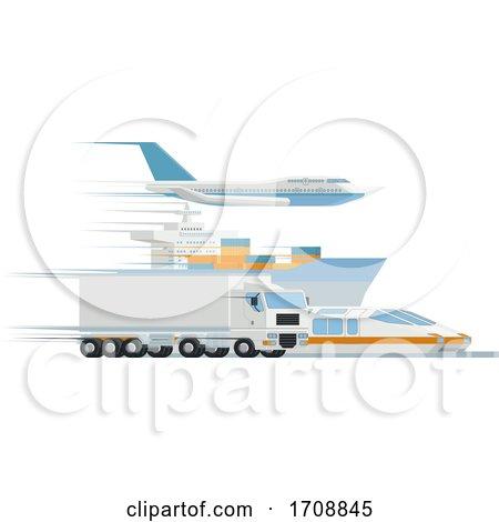 Transport Logistics Distributor Cargo Freight Art by AtStockIllustration