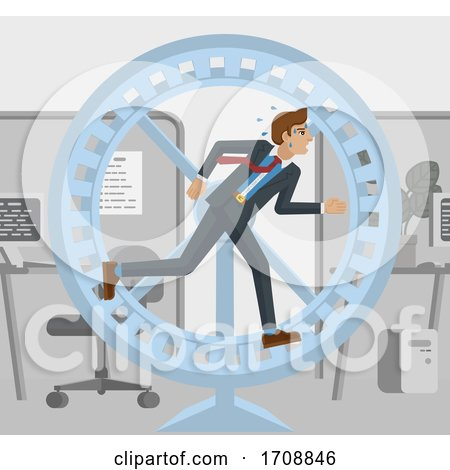 Tired Business Man Running Hamster Wheel Concept by AtStockIllustration