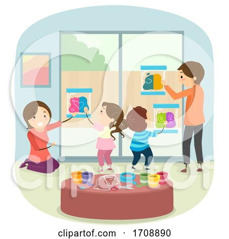 Family Indoor Activity Mess Free Painting Illustration Posters, Art Prints