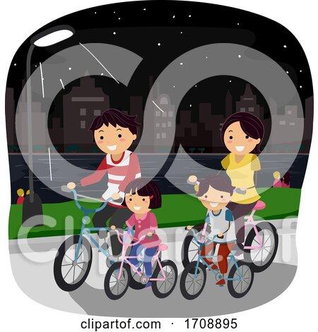 Stickman Family Night Ride Bike Illustration by BNP Design Studio