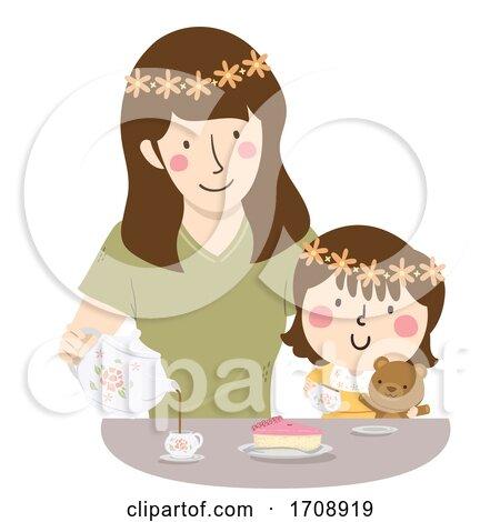 Kid Girl Mother Play Tea Time Illustration Posters, Art Prints