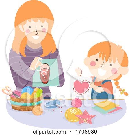 Kid Girl Mom Activity Lacing Card Illustration by BNP Design Studio