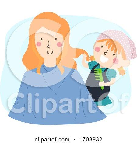 Kid Girl Mom Role Play Hairdresser Illustration by BNP Design Studio