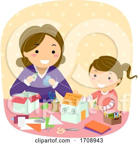 Stickman Kid Girl Mom Paper House Illustration by BNP Design Studio