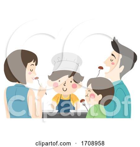 Kid Boy Family Cook Food Taste Illustration by BNP Design Studio