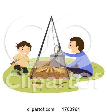 Stickman Kid Boy Dad Open Fire Set up Illustration by BNP Design Studio