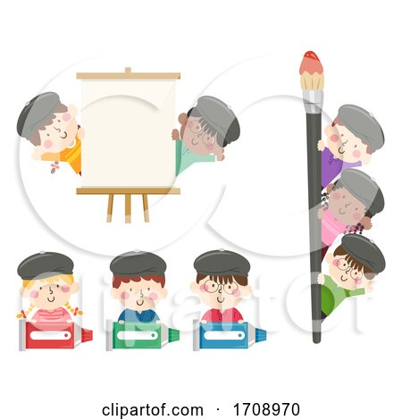 Kids Painters Borders Illustration Posters, Art Prints