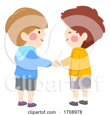 Kids Boys Shake Hands Illustration Posters, Art Prints