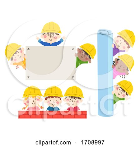 Kids Construction Engineers Borders Illustration by BNP Design Studio