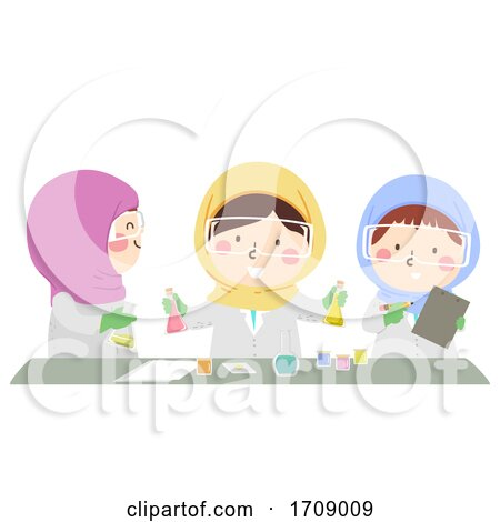 Kids Girls Muslim Science Illustration by BNP Design Studio
