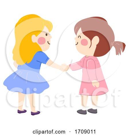 Kids Girls Shake Hands Illustration Posters, Art Prints