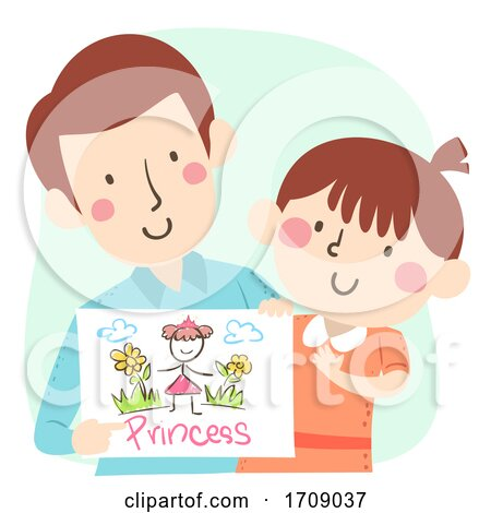 Kid Girl Dad Drawing Talk Illustration by BNP Design Studio