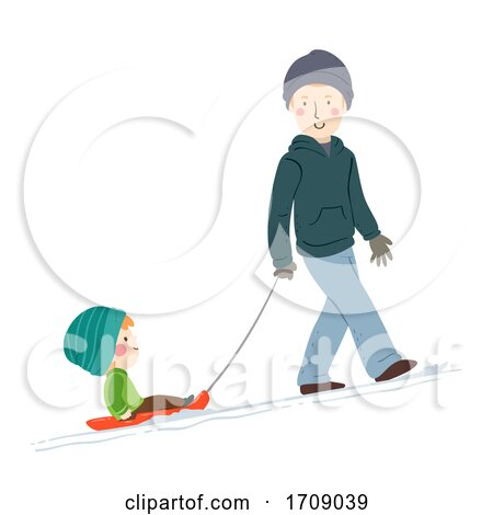 Kid Boy Man Snow Sled Illustration by BNP Design Studio