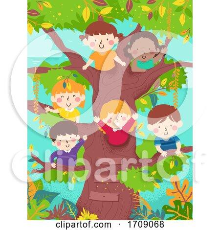Kids Happy Tree Waving Illustration by BNP Design Studio