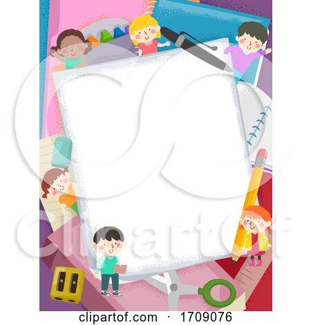 Kids School Supplies Paper Frame Illustration by BNP Design Studio