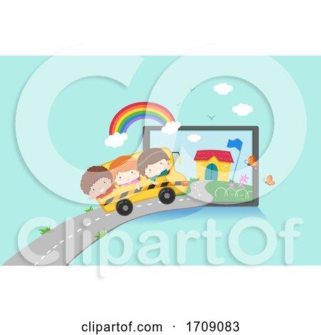 Kids Virtual School Tablet Bus Travel Illustration by BNP Design Studio